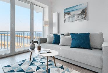 Wnętrze apartamentu typu Studio z widokiem na morze
